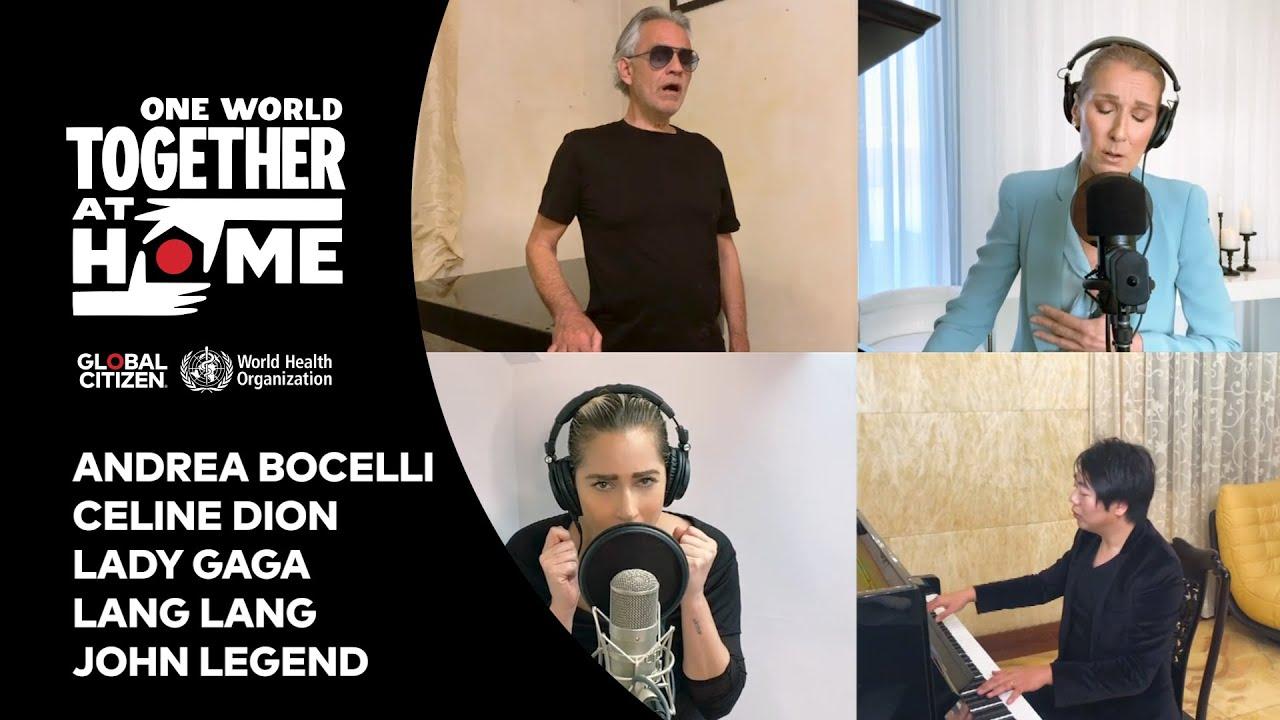 Together At Home Celine Dion Lady gaga John Legend Andrea Bocelli